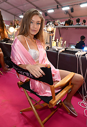 Gigi Hadid backstage during the Victoria's Secret Fashion Show 2016 held at The Grand Palais, Paris, France