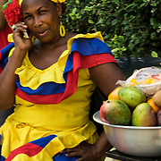 Planquera in tradtiional Caribbean garb  Cartagena, Colombia.