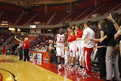 24 March 2011: Redbird bench gets excited as the Redbirds take control in the second half of a WNIT (Women's National Invitational Tournament Women's basketball sweet 16 game between the Duquesne Dukes and the Illinois State Redbirds at Redbird Arena in Normal Illinois.