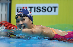 JAKARTA, Aug. 24, 2018  Kim Seoyeong of South Korea celebrates after women's 200m individual medley final of swimming at the 18th Asian Games in Jakarta, Indonesia, Aug. 24, 2018. Kim won the gold medal. (Credit Image: © Fei Maohua/Xinhua via ZUMA Wire)