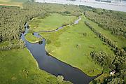 Nederland, Zuid-Holland, Biesbosch, 04-07-2006; Polder de Biesbosch of Dordtse Biesbosch, in de achtergond de Nieuwe Merwede; het gebouwtje rechtsbenden hoort bij de nabijgelgen eendekoo; natuurgebied, natuurreservaat, waterhuishouding, waterbeheer, jacht; luchtfoto (toeslag); aerial photo (additional fee required); .foto Siebe Swart / photo Siebe Swart