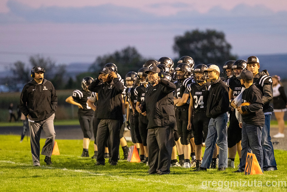 Coaches Jeff Aldred, Rick Yraguen, and Nate Aldred. Vale High School vs La Pine High School football game at Frank Hawley Stadium in Vale, Oregon on September 10, 2021.
