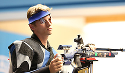05.09.2015, Olympia Schiessanlage Hochbrueck, Muenchen, GER, ISSF World Cup 2015, Gewehr, Pistole, Herren, 10 Meter Luftgewehr, im Bild Nazar Louginets (RUS) ist frustriert // during the men's 10M air rifle competition of the 2015 ISSF World Cup at the Olympia Schiessanlage Hochbrueck in Muenchen, Germany on 2015/09/05. EXPA Pictures © 2015, PhotoCredit: EXPA/ Eibner-Pressefoto/ Wuest<br /> <br /> *****ATTENTION - OUT of GER*****