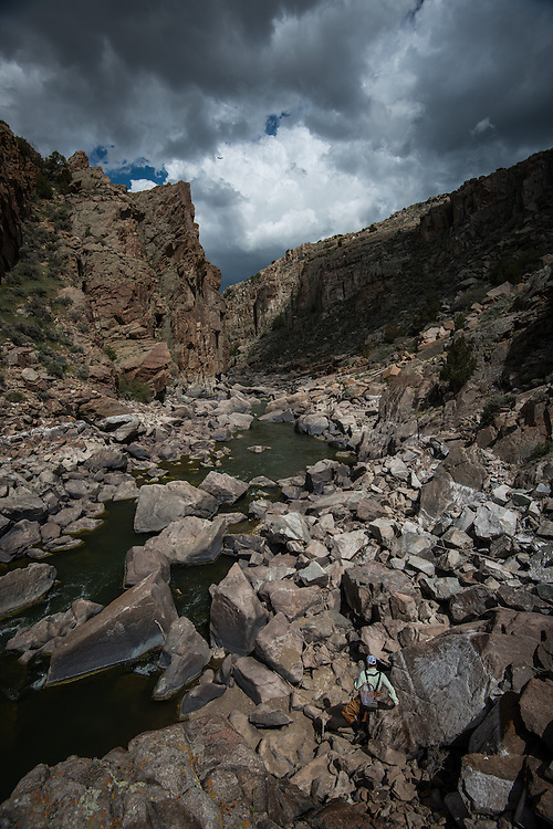 Matt Copeland descends into Fremont Canyon.