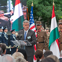 Kevin McCarthy (C), leader of the US congress delegation delivers his speech during the inauguration of the new statue of Ronald Reagan on the square named Freedom in Budapest, Hungary. Wednesday, 29. June 2011. ATTILA VOLGYI