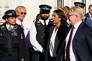 Businesswoman and campaigner Gina Miller, who has launched legal proceedings against Prime Minister Boris Johnsons government over the suspension of parliament arrives with her legal team at the the Supreme Court surrounded by police officers and personal security on day three of the hearing on 19th September 2019 in London, United Kingdom. Supreme Court judges will decide if Prime Minister Boris Johnson acted unlawfully in advising the Queen to prorogue parliament.