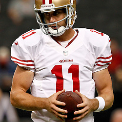 November 25, 2012; New Orleans, LA, USA; San Francisco 49ers quarterback Alex Smith (11) against the New Orleans Saints prior to a game at the Mercedes-Benz Superdome. The 49ers defeated the Saints 31-21. Mandatory Credit: Derick E. Hingle-US PRESSWIRE