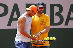 May 23, 2019 - Paris, France - PARIS, FRANCE - MAY 23 :  Carlos Moya and Rafael Nadal during his training session before the French Open of Roland-Garros , on May 23, 2019 in Paris , France. (Credit Image: © Panoramic via ZUMA Press)