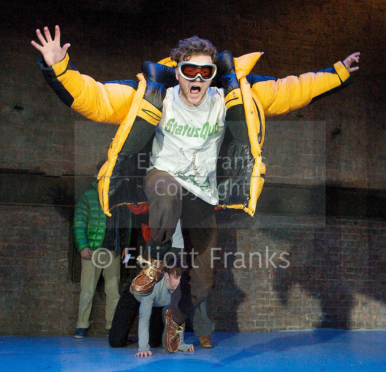 The Conquest of the South Pole<br /> by Manfred Karge<br /> translated by Tinch Minter & Anthony Vivis directed by Stephen Unwin<br /> designed by Hayden Griffin<br /> <br /> at the Arcola Theatre, london, Great Britain <br /> press photocall <br /> 26th April 2012 <br /> <br /> Chris Ashby as Frankieboy<br /> Sam Crane as Braukmann<br /> O-T Fagbenie as Slupianek<br /> Mark Field as Buscher <br /> Andrew Gower  as Seiffert The Moose of Herne<br /> Emma Cubbiffe as La Braukmann<br /> <br /> Photograph by Elliott Franks