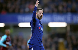 Chelsea's Eden Hazard reacts to the fans during the Premier League match at Stamford Bridge, London.