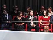 AALBORG, DENMARK, 2015, NOVEMBER 19 Princess Mary of Denmark is moved from Copenhagen to Aalborg, a town on the northern tip of Jutland, to witness live recording JuleShow (Christmas show).<br /> The Danish TV2 television channel, which each year offer their viewers this show with the participation of well-known national artists, chose this year Musikkens Hus (House of Music) in Aalborg, a modern theater where the symphony orchestra the city often fill the room at his concerts. Princess Mary arrived on time at 19:55 pm this cold Thursday<br /> November 19. At the entrance was greeted by the mayor, Thomas Kastrup-Larsen, plus Christen Obel, Chairman of the Board of Directors of the Musikkens Huse and Rich CEO Lasse Henningsen.<br /> Mary wore a black coat over a red short dress and tight sleeve.<br /> As stipulated in the protocol, the princess came last in the crowded room and the public received standing. He sat in the left box, accompanied by his two hosts, from which witnessed the spectacle of one hour and twenty minutes. The wife of Frederick of Denmark did not speak and did not take the children because it was very late and had school on Friday.<br /> ©Exclusivepix Media