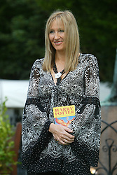 J K Rowling, the best-selling British author and creator of the Harry Potter series of books, at the Edinburgh International Book Festival for a special event in front of 500 fans, where she gave a reading and answered questions, August 15, 2004. ..