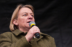 © Licensed to London News Pictures. 21/03/2015. Trafalgar Square, London UK. Natalie Bennett Leader, The Green Party,  on stage addressing the large crowds assembled in Trafalgar Square for the Stand Up to Racism and Fascism rally. Photo credit : Stephen Chung/LNP