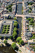 Nederland, Noord-Holland, Haarlem, 01-08-2016; centrum Haarlem met Nieuwe Gracht richting Jansstraat. Voormalige Diaconiehuis / Koudenhorn Kazerne, nu Politiebureau.<br /> City centre Haarlem.<br /> luchtfoto (toeslag op standard tarieven);<br /> aerial photo (additional fee required);<br /> copyright foto/photo Siebe Swart