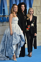 © Licensed to London News Pictures. 16/07/2018. London, UK. Lily James, Cher and Amanda Seyfried attends the Mamma Mia! Here We Go Again World Film Premiere at Eventim Apollo Hammersmith. Photo credit: Ray Tang/LNP