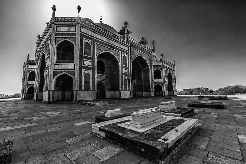 Humayun's Tomb in New Delhi, India. Several Mughal emperors are buried inside Humayun's mausoleum. No sepulcher in India or elsewhere contains such a high number of tombs of the Mughal emperors and their relatives.