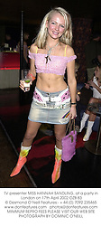 TV presenter MISS HANNAH SANDLING, at a party in London on 17th April 2002.OZB 83