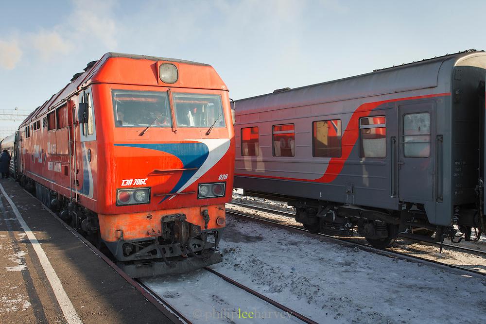 Bam (Baikal-Amur Mainline train, ) Tynda station. Siberia. Russia