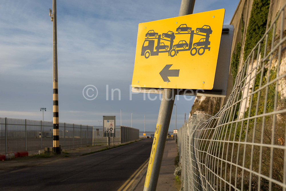 Landscape on the perimeter of the Port of Ramsgate, a closed but once busy ferry terminal, on 8th January 2019, in Ramsgate, Kent, England. The Port of Ramsgate has been identified as a Brexit Port by the government of Prime Minister Theresa May, currently negotiating the UKs exit from the EU. Britains Department of Transport has awarded to an unproven shipping company, Seaborne Freight, to provide run roll-on roll-off ferry services to the road haulage industry between Ostend and the Kent port - in the event of more likely No Deal Brexit. In the EU referendum of 2016, people in Kent voted strongly in favour of leaving the European Union with 59% voting to leave and 41% to remain.