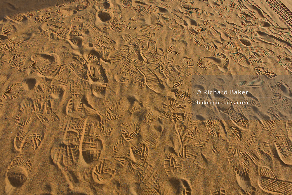 Human presence in the form of footprints left in the sand of dunes at al-Galamun, near Dahkla Oasis, Western Desert, Egypt. .