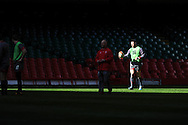Alex Cuthbert  of Wales during the Wales rugby team captains run at the Millennium Stadium, Cardiff, South Wales on Thursday 20th Feb 2014. pic by Andrew Orchard, Andrew Orchard sports photography.