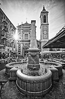 Black and white view of the Cathédrale Sainte-Réparate and Rosetti Fountain found in Old Town Nice, France.