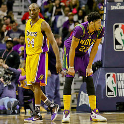 Feb 4, 2016; New Orleans, LA, USA; Los Angeles Lakers forward Kobe Bryant (24) and New Orleans Pelicans forward Anthony Davis (23) during the second quarter of a game at the Smoothie King Center. Mandatory Credit: Derick E. Hingle-USA TODAY Sports