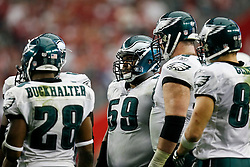 18 Jan 2009: Philadelphia Eagles offensive lineman Nick Cole #59 in a huddle during the NFC Championship game against the Arizona Cardinals on January 18th, 2009. The Cardinals won 32-25 at University of Phoenix Stadium in Glendale, Arizona. (Photo by Brian Garfinkel)