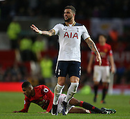 Kyle Walker of Tottenham protests his tackle on Marcus Rashford of Manchester United during the English Premier League match at Old Trafford Stadium, Manchester. Picture date: December 11th, 2016. Pic Simon Bellis/Sportimage