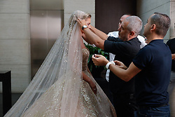 Elie Saab and bride Christina Mourad seen preparing (fitting) Elie Saab Jr (Fashion designer Elie Saab's son) and Christina Mourad wedding, in Faqra, Lebanon on July 19, 2019. The wedding is among the most incredible weddings of 2019, included four wedding outfits, over a million sequins and 1,200 guest. Photo by Balkis Press/ABACAPRESS.COM