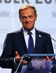 BRATISLAVA, Sept. 17, 2016 (Xinhua) -- European Council President Donald Tusk speaks at a press conference after an informal European Union (EU) summit in Bratislava, Slovakia, Sept. 16, 2016. EU members on Friday issued a joint declaration, formulating a road map for the bloc to tackle challenges, said Slovak Prime Minister Robert Fico. (Xinhua/Gong Bing) (wtc) (Credit Image: © Gong Bing/Xinhua via ZUMA Wire)