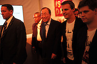 Secretary-General of the United Nations Ban Ki-moon, left, with Hugh Evans, co-founder of Global Poverty Project at the Global Citizen's Festival in New York's Central Park. <br /> <br /> The free, ticketed event is part of the Global Citizen platform, a social media and live-event campaign. Musicians and celebrities join dignitaries and philanthropists to urge world leaders to act towards ending extreme poverty by 2030. Free tickets were earned by fans who logged on to www.globalfestival.com to learn and share content about four main themes: education, women's equality, global health and global partnerships.<br /> <br /> (Photo by Robert Caplin) 2013 Global Citizen's Festival. <br /> <br /> Photo ©Robert Caplin