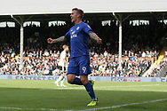 Danny Ward of Cardiff City celebrates after scoring his team's first goal.EFL Skybet football league championship match, Fulham v Cardiff city at Craven Cottage in London on Saturday 9th September 2017.<br /> pic by Steffan Bowen, Andrew Orchard sports photography.