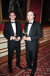 Left to right, PHILIPPE VIDAL and JEAN-PHILIPPE DELMAS at a dinner hosted by HRH Prince Robert of Luxembourg in celebration of the 75th anniversary of the acquisition of Chateau Haut-Brion by his great-grandfather Clarence Dillon held at Lancaster House, London on 10th June 2010.