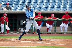 June 5, 2017 - St. Petersburg, Florida, U.S. - WILL VRAGOVIC   |   Times.Charlotte Stone Crabs outfielder Peter Bourjos (17) breaks his bat on a foul ball during his at bat in the first inning of the game between the Charlotte Stone Crabs and the Clearwater Threshers at Spectrum Field in Clearwater, Fla. on Monday, June 6, 2017. (Credit Image: © Will Vragovic/Tampa Bay Times via ZUMA Wire)