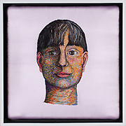 "Title: Cruel, Crewel Summer<br /> Artist: Catherine Hicks<br /> Date: 2014<br /> Medium: Crewel wool embroidery on silk<br /> Dimensions: 13.5 x 13.5""<br /> Instructor: David Thornberry<br /> Status: On Display<br /> Location: Art & Digital Media Office Suite<br /> Highland Campus HLC4 Bldg 4000, Room 2110"