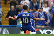Eden Hazard of Chelsea celebrates after scoring his sides 1st goal to make it 1-0. Premier league match, Chelsea v Burnley at Stamford Bridge in London on Saturday 27th August 2016.<br /> pic by John Patrick Fletcher, Andrew Orchard sports photography.