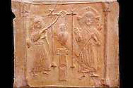 Detail of a 6th-7th Century  Eastern Roman Byzantine  Christian Terracotta tiles depicting Christ changing Water into wine - Produced in Byzacena -  present day Tunisia. <br /> <br /> These early Christian terracotta tiles were mass produced thanks to moulds. Their quadrangular, square or rectangular shape as well as the standardised sizes in use in the different regions were determined by their architectonic function and were designed to facilitate their assembly according to various combinations to decorate large flat surfaces of walls or ceilings. <br /> <br /> Byzacena stood out for its use of biblical and hagiographic themes and a richer variety of animals, birds and roses. Some deer and lions were obviously inspired from Zeugitana prototypes attesting to the pre-existence of this province's production with respect to that of Byzacena. The rules governing this art are similar to those that applied to late Roman and Christian art with, in the case of Byzacena, an obvious popular connotation. Its distinguishing features are flatness, a predilection for symmetrical compositions, frontal and lateral representations, the absence of tridimensional attitudes and the naivety of some details (large eyes, pointed chins). Mass production enabled this type of decoration to be widely used at little cost and it played a role as ideograms and for teaching catechism through pictures. Painting, now often faded, enhanced motifs in relief or enriched them with additional details to break their repetitive monotony.<br /> <br /> The Bardo National Museum Tunis, Tunisia.  Against a black background.