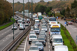 © Licensed to London News Pictures. 02/11/2020. London, UK. Commuters are stuck in heavy traffic on the A3 Kingston Bypass in Roehampton, South West London as they head into the city this morning ahead of Prime Minister Boris Johnson's statement to the commons as he warns MPs that deaths from Covid-19's second wave could be twice as high as the first wave before MPs vote on the Government's 4 week lockdown measures. On Saturday Boris Johnson announced new lockdown rules from Thursday with pubs, restaurants, non-essential shops and gyms to close as Covid-19 infections continue to escalate throughout the UK. Photo credit: Alex Lentati/LNP