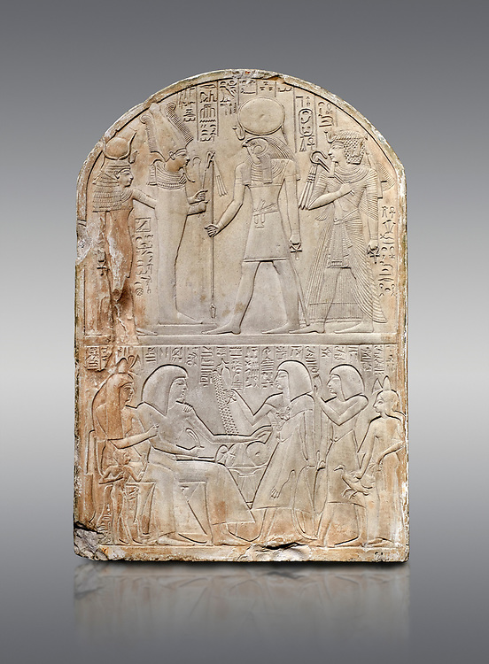Ancient Egyptian stele dedicated to the god Re-Harakhty by sculptor Ipy, limestone, New Kingdom, 19th Dynasty, (1279-1213 BC), Deir el-Medina, Drovetti cat 7357. Egyptian Museum, Turin. Grey background .<br /> <br /> If you prefer to buy from our ALAMY PHOTO LIBRARY  Collection visit : https://www.alamy.com/portfolio/paul-williams-funkystock/ancient-egyptian-art-artefacts.html  . Type -   Turin   - into the LOWER SEARCH WITHIN GALLERY box. Refine search by adding background colour, subject etc<br /> <br /> Visit our ANCIENT WORLD PHOTO COLLECTIONS for more photos to download or buy as wall art prints https://funkystock.photoshelter.com/gallery-collection/Ancient-World-Art-Antiquities-Historic-Sites-Pictures-Images-of/C00006u26yqSkDOM