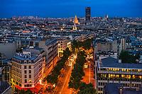 Avenue Marceau & Rooftops of Paris, Blue Hour