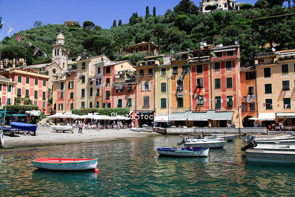 Pastel painted houses on the seafront at Portofino, Golfo del Tigullio, Italian Riviera, Liguria, Italy