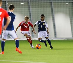 Wales Caven Williams and Scotland's Karamoko Dembele. Scotland 2 v 2 Wales, Under 16 Victory Shield, Oriam 1/11/2016.