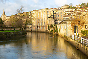 Abbey Mills former industrial mill on River Avon in town of Bradford on Avon, Wiltshire, England, UK
