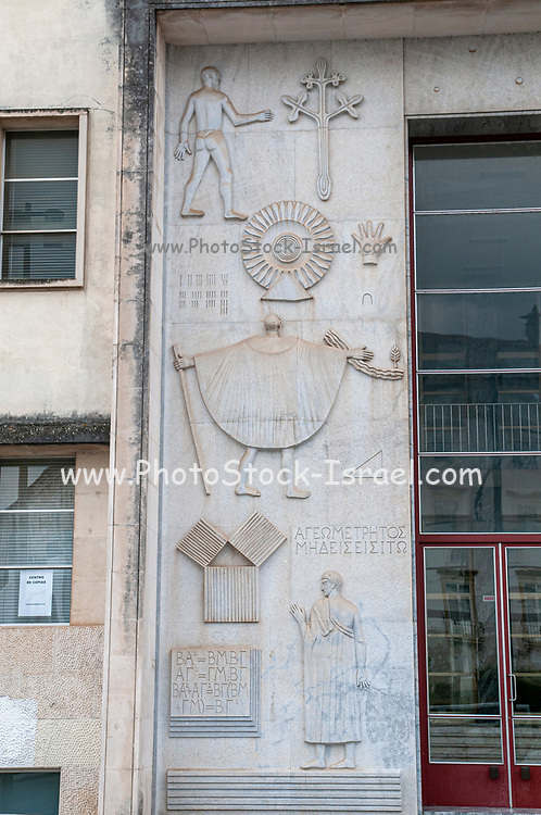 Bas-relief details on the wall of the Faculty of Mathematics at the university of Coimbra, Coimbra, Portugal