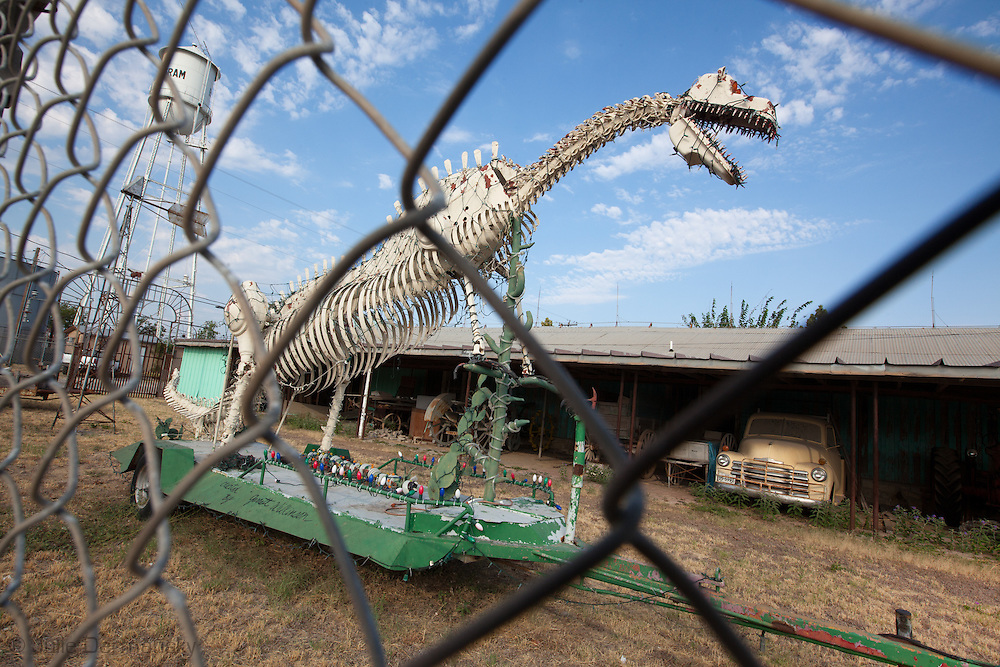 Dinosaur at repair shop in Bertran Texas where there are extreme drought conditions.<br /> The drought in Texas will have long term environmental and finical impact.