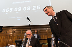© Licensed to London News Pictures. 23/01/2019. London, UK. Brexiteer Jacob Rees-Mogg attends a Bruge Group Pro_Brexit Meeting to mark 65 days when the United Kingdom leave the European Union. Photo credit: Ray Tang/LNP