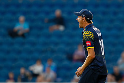 Glamorgan's Michael Hogan celebrates taking the catch to remove Gloucestershire's Michael Klinger<br /> <br /> Photographer Simon King/Replay Images<br /> <br /> Vitality Blast T20 - Round 8 - Glamorgan v Gloucestershire - Friday 3rd August 2018 - Sophia Gardens - Cardiff<br /> <br /> World Copyright © Replay Images . All rights reserved. info@replayimages.co.uk - http://replayimages.co.uk