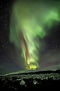 Aurora over Öræfajökull stratovolcano
