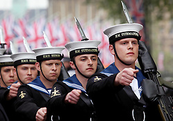 29 April 2011. London, England..Royal wedding day. British pomp and ceremony with military processions outside Westminster Abbey..Photo; Charlie Varley.